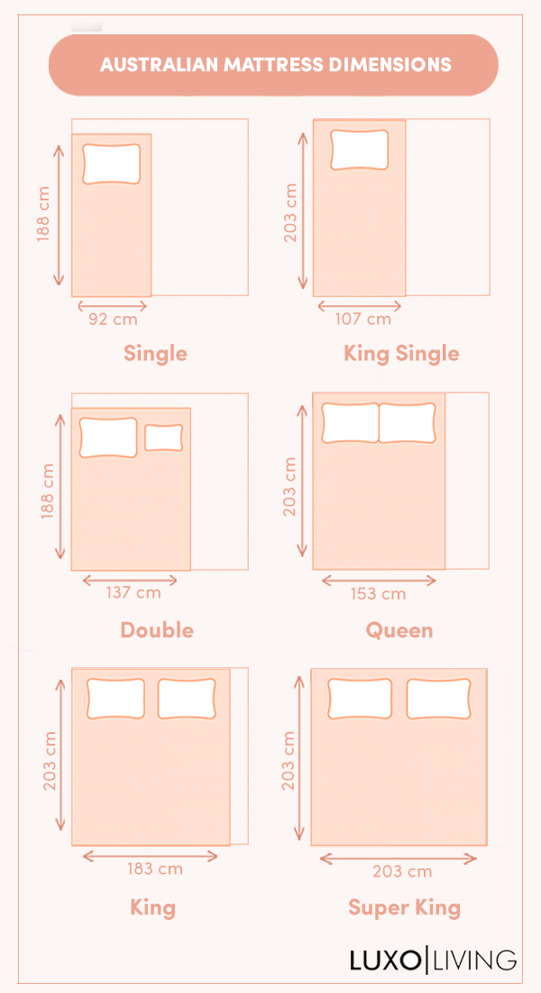 Bed Size Guide Australian Standard, What Is The Standard Length Of A King Size Bed